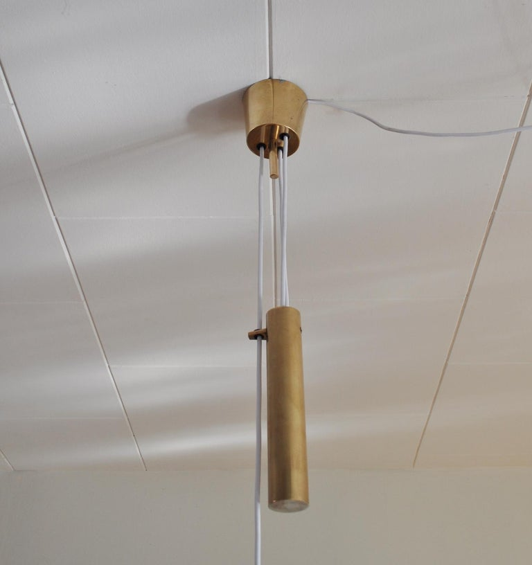 Danish Mid-century Modern Chandelier in Brass 1950s in the Style of Paavo Tynell For Sale 1