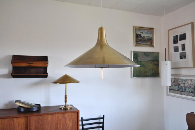 Danish Mid-century Modern Chandelier in Brass 1950s in the Style of Paavo Tynell For Sale 2