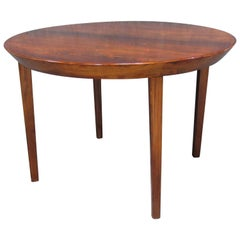 Danish Midcentury Modern Gudme Rosewood Round Extension Dining Table by Ole Hald
