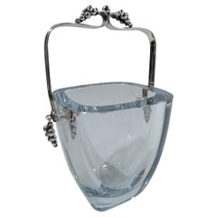 Danish Mid-Century Modern Sterling Silver and Glass Ice Bucket