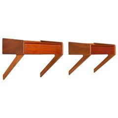 Danish Midcentury Modern Teak with Oak Bedside Tables, Set of 2, 1960s