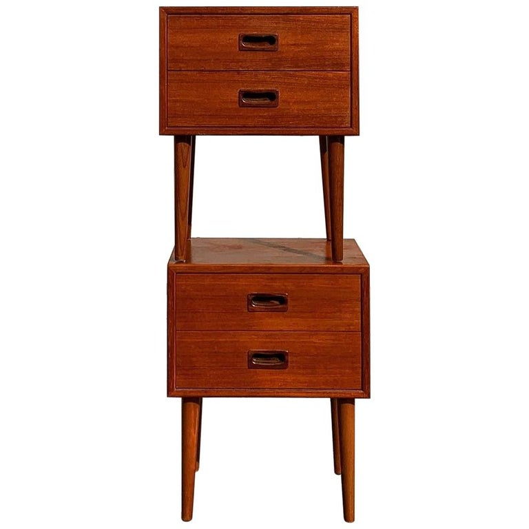 Pair of teak nightstands / bedside tables made of teak with tapered legs, rare pieces, good vintage condition, Denmark, 1960s.