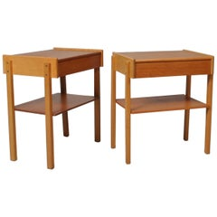 Danish Midcentury Oak Nightstands, End Tables