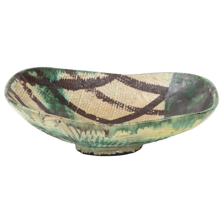 Danish Midcentury Oblong Ceramic Bowl by Allan Ebeling, 1957 For Sale