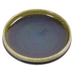 Danish Midcentury Palshus Low Bowl with Blue Green Glaze Chamotte Ceramic, 1960s
