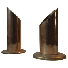 Danish Midcentury Pipe Candleholders in Brass from Danalux, 1960s, Set of 2