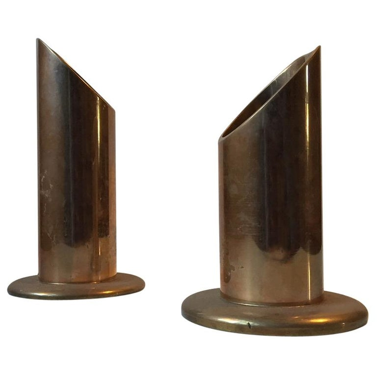 Danish Midcentury Pipe Candleholders in Brass from Danalux, 1960s, Set of 2 For Sale