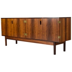 Danish Midcentury Rosewood and Brass Sideboard by Svend Langkilde, 1960s