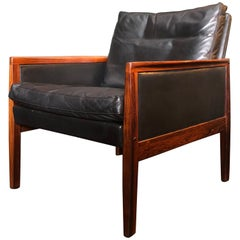 Danish Midcentury Rosewood and Leather Armchair by Hans Olsen