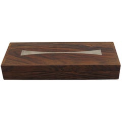 Danish Midcentury Rosewood Box by Hans Hansen with Silver Inlay