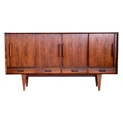 Danish Midcentury Rosewood Sideboard with Built-In Rosewood Bar