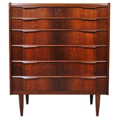 Danish Midcentury Rosewood Tallboy Chest of Drawers