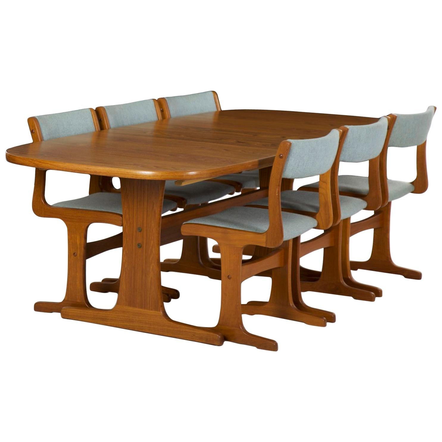 Genial Danish Midcentury Set Of Six Chairs And Trestle Dining Table By Gangso  Møbler