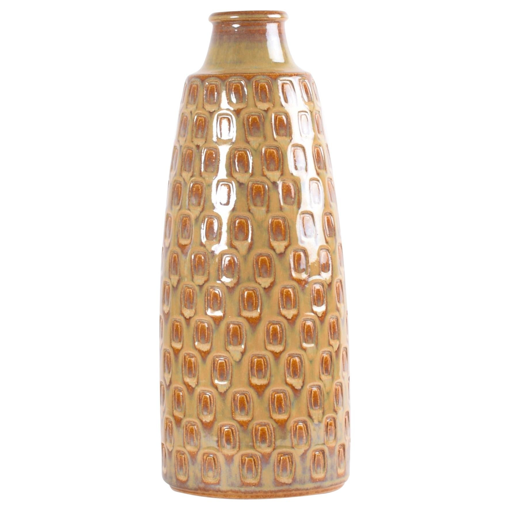 Danish Midcentury Søholm Floor Vase Ceramic with Ochre Brown Purple Glaze, 1960s