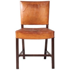 Danish Midcentury Side Chair in Patinated Leather and Oak, 1940s