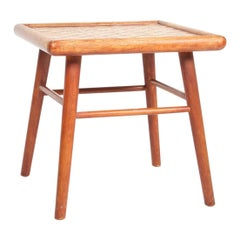 Danish Midcentury Side Table in Patinated Oak and Porcelain, 1940