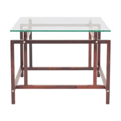 Danish Midcentury Side Table in Rosewood and Glass, 1960s
