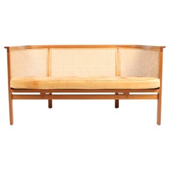 Danish Midcentury Sofa in Mahogany and Patinated Leather by Rud Thygesen