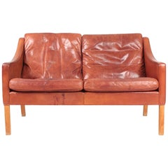 Danish Midcentury Sofa in Patinated Leather by Børge Mogensen, 1960s