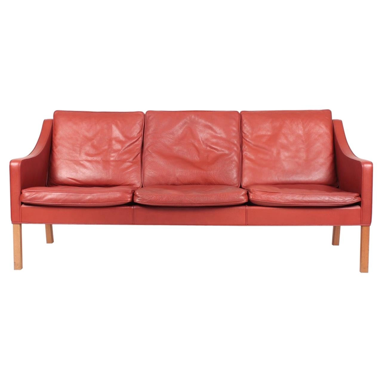 Danish Midcentury Sofa in Patinated Leather by Børge Mogensen, 1980s
