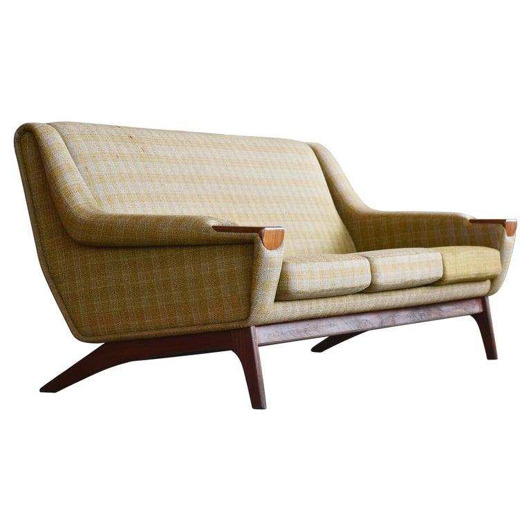 Danish Midcentury Sofa in Wool and Teak by Erhardsen and Erlandsen for Eran For Sale