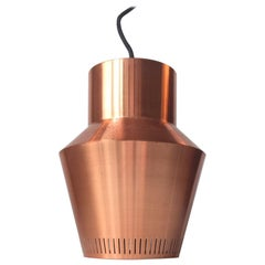 Danish Midcentury Solid Copper Pendant Lamp from Fog & Morup, 1960s