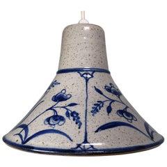 Danish Midcentury Stoneware Handmade Pendant with Blue Flowers, 1960s