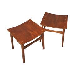 Danish Craftsman Midcentury Stools, Oak and Teak, Pair
