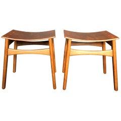Danish Midcentury Stools. Unique design in Oak and Teak.