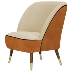 Danish Midcentury Style Leather Accent Chair Oslo