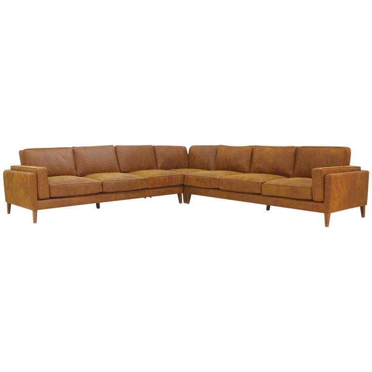 Danish Midcentury Style Sectional Leather Sofa Coyoacan For Sale