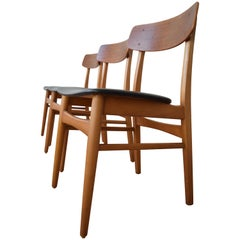 Danish Midcentury Teak and Beech Dining Chairs, 1960s
