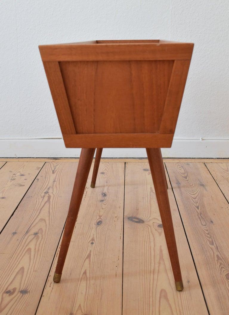 Danish Midcentury Teak and Cane Planter, 1960s For Sale 1