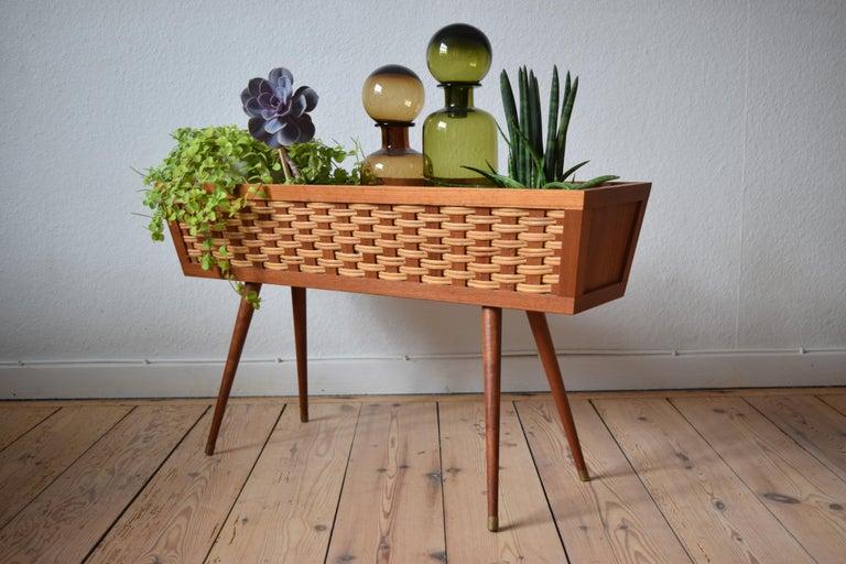 Danish Midcentury Teak and Cane Planter, 1960s For Sale 3