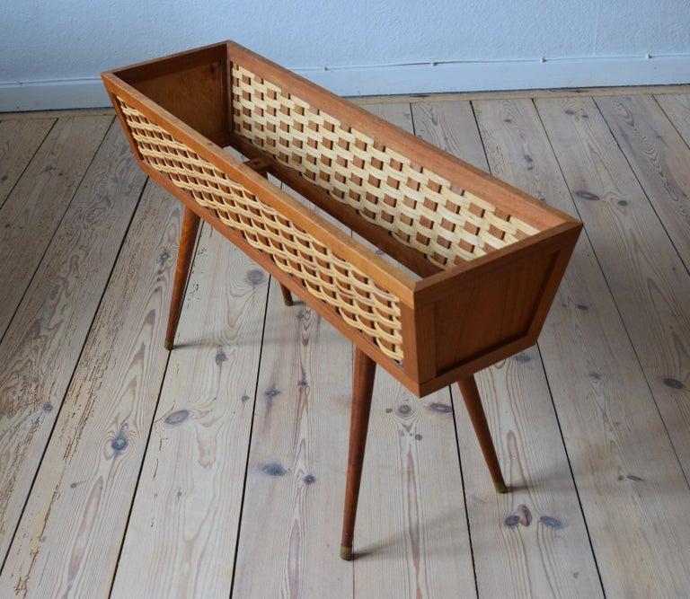 Danish Midcentury Teak and Cane Planter, 1960s For Sale 4