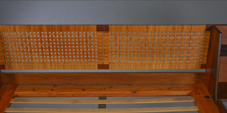 20th Century Danish Midcentury Teak double bed with Cane headboard by Hans Wegner For Sale