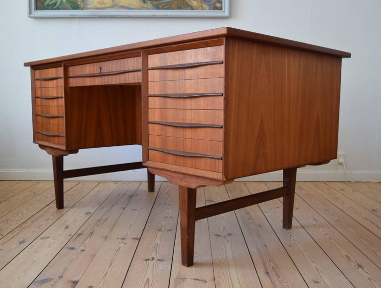 Mid-20th Century Danish Midcentury Teak Executive Desk, 1960s For Sale