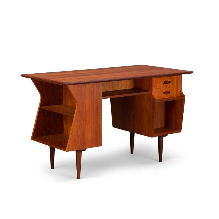 Mid-20th Century Danish Midcentury Teak Freestanding Desk, 1960s For Sale