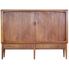 Danish Midcentury Teak Sideboard or Credenza with Tambour Doors, 1950s