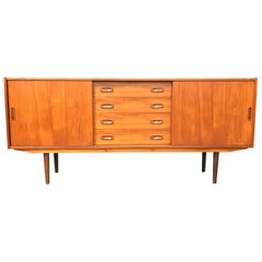 Danish Midcentury Teak Sideboard with 4 Drawers and Sliding Doors