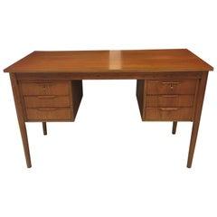 Danish Midcentury Teak Writing Desk with Six Drawers, circa 1960s