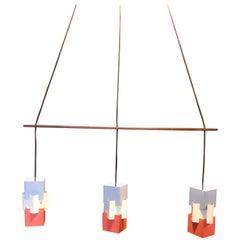 Danish Midcentury Triple Pendant Light,  Jo Hammerborg, Fog & Morup