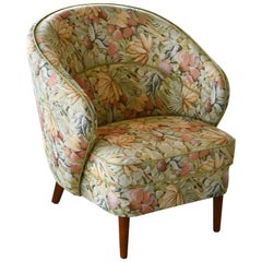 Danish Midcentury Tub Chair in Floral Fabric