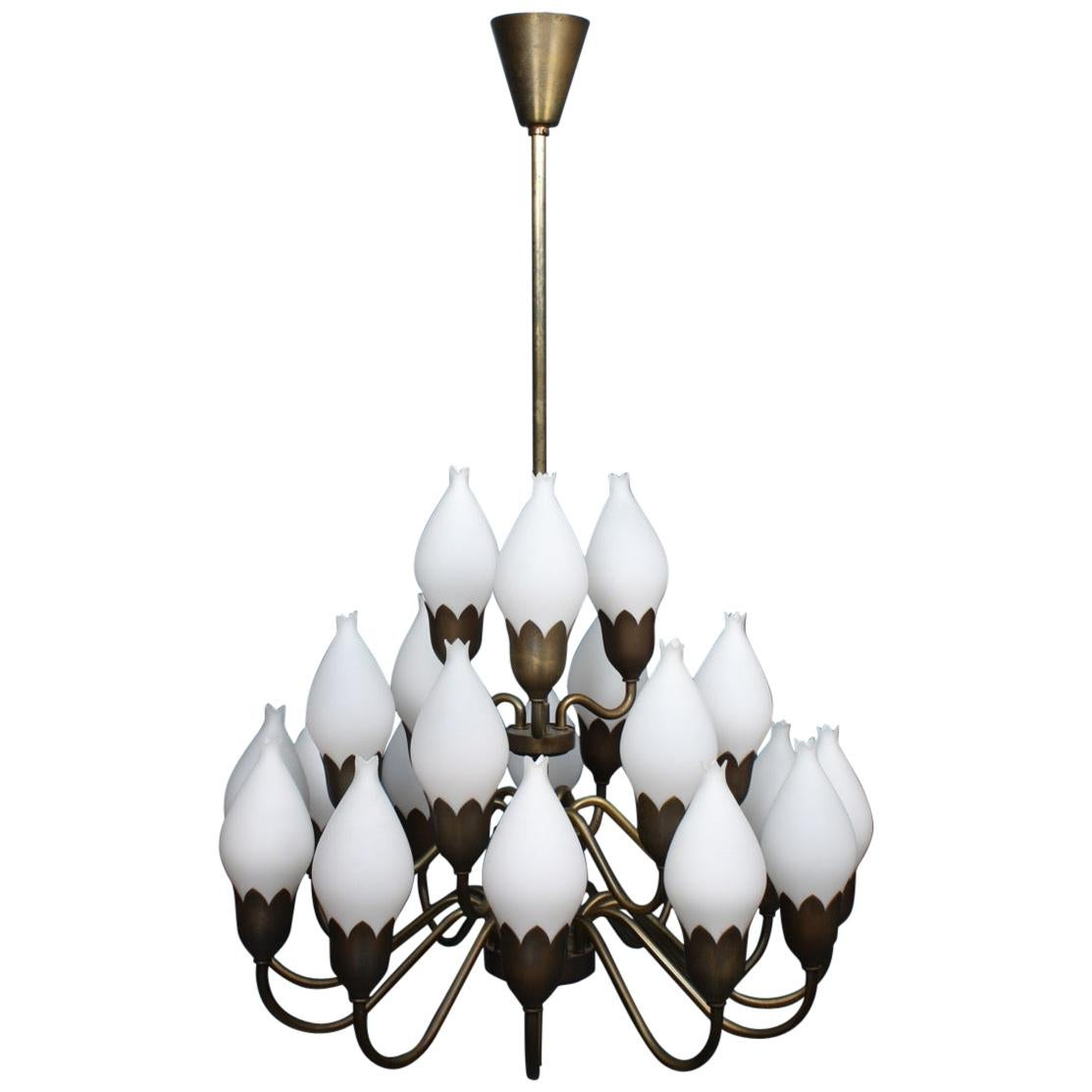 Danish Midcentury Tulip Chandelier in Brass and Glass by Fog & Mørup, 1950s