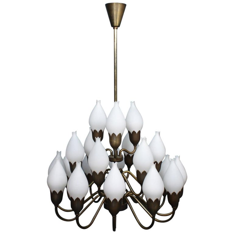 Danish Midcentury Tulip Chandelier in Brass and Glass by Fog & Mørup, 1950s For Sale