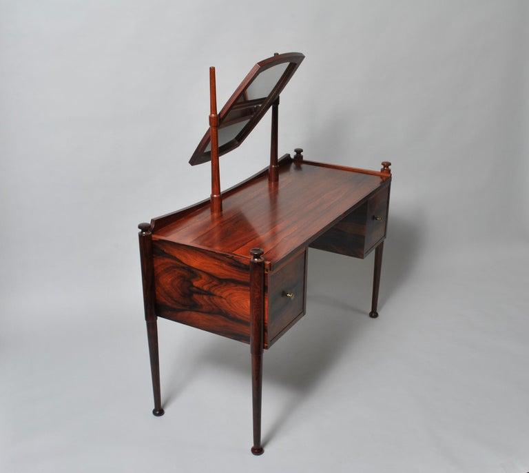 Danish Midcentury Dressing Table and Matching Bench Stool In Good Condition For Sale In London, GB