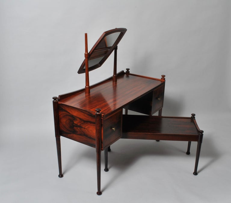 Hardwood Danish Midcentury Dressing Table and Matching Bench Stool For Sale