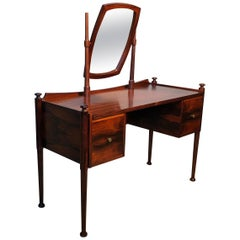 Danish Midcentury Vanity Dressing Table and Matching Bench Stool