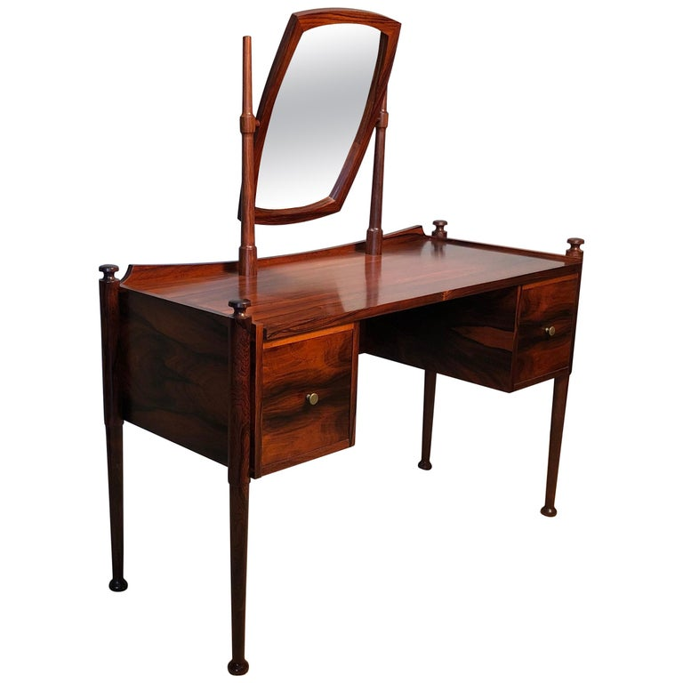 Danish Midcentury Dressing Table and Matching Bench Stool For Sale