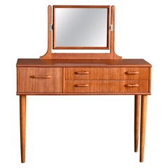 Danish Midcentury Vanity or Dressing Table in Teak with Mirror and Drawers